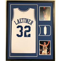 Christian Laettner Signed 34x42 Custom Framed Jersey (JSA COA)