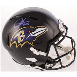 Justice Hill Signed Ravens Full-Size Speed Helmet (JSA COA)