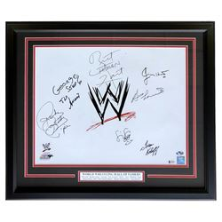 WWE Hall of Famers 22x27 Custom Framed Photo Display Signed by (7) with Roddy Piper, Bruno Sammartin