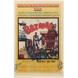 """Batman"" 11x17 Movie Poster Signed by (5) with Adam West, Burt Ward, Frank Gorshin, Lee Meriweather"