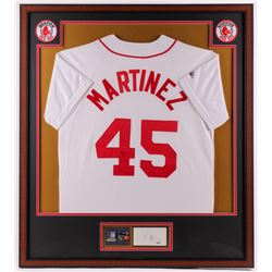 Pedro Martinez Signed Red Sox 32x36 Framed Cut Display with Majestic Jersey, (2) Red Sox Patches,  (