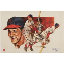 "Stan Musial Signed Cardinals 12x18 Lithograph Inscribed ""HOF 69"" (Musial Hologram)"