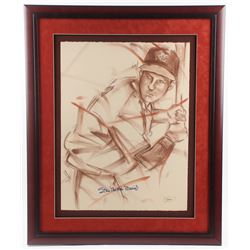 "Stan ""The Man"" Musial Signed Cardinals 30.25x36.5 Custom Framed Lithograph Display (JSA COA)"