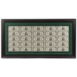 Uncut Sheets of (16) 2017 $1 One-Dollar Green Seal U.S. Federal Reserve Note Bills 19.5x37 Custom Fr