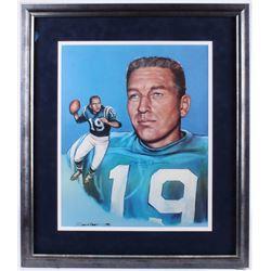 Johnny Unitas Signed Colts 26x30.25 Custom Framed Print Display (JSA COA)