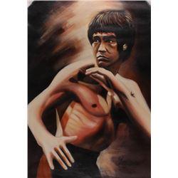 "Longyun Bruce Lee ""Enter the Dragon"" 23x34 Original Oil Painting on Linen (PA LOA)"