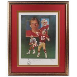 Joe Montana Signed LE 49ers 27.75x34 Custom Framed Lithograph Display (JSA COA)