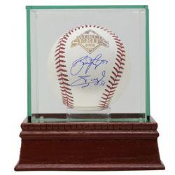Brad Lidge  Carlos Ruiz Signed 2008 World Series Baseball with Display Case (JSA COA)