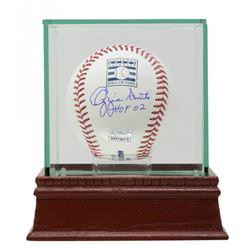 "Ozzie Smith Signed OML Hall Of Fame Baseball Inscribed ""HOF 02"" with Display Case (JSA COA)"