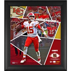 Patrick Mahomes LE Chiefs 15x17 Custom Framed Photo Display with Game-Used Football Cut