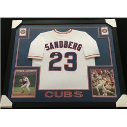 "Ryne Sandberg Signed 34x44 Custom Framed Jersey Inscribed ""HOF 05"" (JSA COA)"