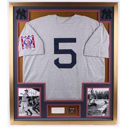 Joe DiMaggio Signed Yankees 32x36 Custom Framed Cut Display with Pin (JSA LOA)
