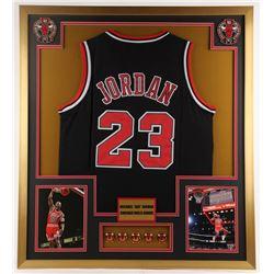 Michael Jordan Bulls 32x36 Custom Framed Jersey with (5) Championship Pins