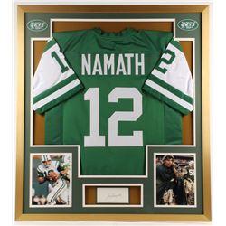 Joe Namath Signed Jets 32x36 Custom Framed Cut Display (Beckett COA)