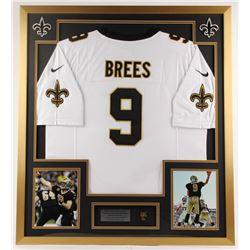 Drew Brees Saints 32x36 Custom Framed Jersey Display with Pin