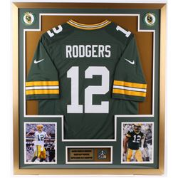 Aaron Rodgers Packers 32x36 Custom Framed Jersey Display with Super Bowl Pin