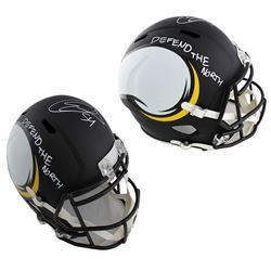 "Eric Kendricks Signed Vikings Full-Size AMP Alternate Speed Helmet Inscribed ""Defend the North"" (TSE"