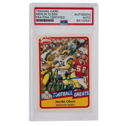 Merlin Olsen Signed 1989 Swell Greats #116 (PSA Encapsulated)