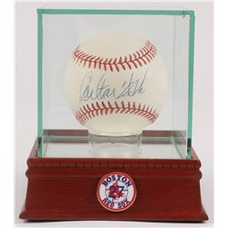 Carlton Fisk Signed OAL Baseball with High Quality Display Case  Red Sox Pin (PSA COA)