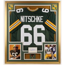 Ray Nitschke Signed Packers 32x36 Custom Framed Cut Display with Pin (JSA COA)