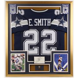 Emmitt Smith Signed Cowboys 32x36 Custom Framed Cut Display with Pin (JSA COA)
