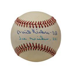 "Phil Niekro  Joe Niekro Signed OAL Baseball Inscribed ""318""  ""221"" (Beckett COA)"