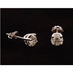 14kt White Gold Diamond Solitair Stud Earrings