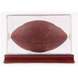 Johnny Unitas Signed NCAA Football with Display Case (PSA LOA)