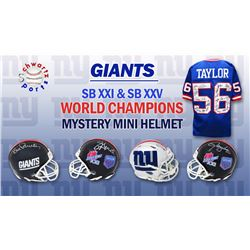New York Giants SB XXI, XXV Champions Signed Mystery Mini Helmet – Series 2 (Limited to 156) - **G