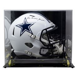 """Roger Staubach Signed Cowboys Full-Size Matte White Speed Helmet Inscribed """"The Dodger"""" with High-Qu"""