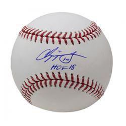 """Chipper Jones Signed OML Baseball Inscribed """"HOF 18"""" (PSA COA)"""