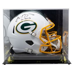 """Aaron Rodgers Signed Packers Full-Size Matte White Speed Helmet Inscribed """"Go Pack Go"""" with High-Qua"""