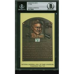 Ty Cobb Gold Hall of Fame Plaque Postcard with (1) Hand-Written Word (BGS Encapsulated)