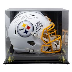 Minkah Fitzpatrick  Joe Haden Signed Steelers Full-Size Matte White Speed Helmet with High-Quality D