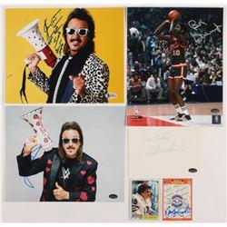 Lot of (6) Assorted Items Signed by Jimmy Hart, Dan Hampton, Bob Dandridge,  Rick Neuheisel With Ins