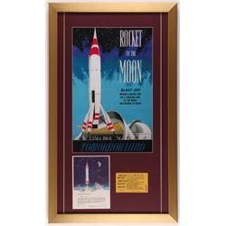 "Disneyland ""TWA"" 17x29 Custom Framed Print Display with Original TWA Ride Certificate  Ticket"