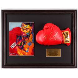 Mike Tyson Signed 17.5x22.5 Custom Framed Boxing Glove Display with Leroy Neiman Print (JSA COA)