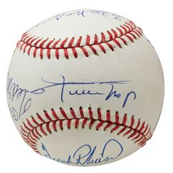 500 Home Run Club ONL Baseball Signed by (8) with Mickey Mantle, Ted Williams, Willie Mays, Harmon K