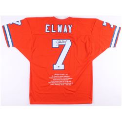 John Elway Signed Career Highlight Stat Jersey (Mounted Memories COA)