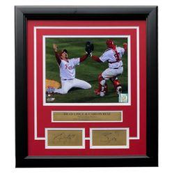 Brad Lidge  Carlos Ruiz Phillies 14x18 Custom Framed Photo Display