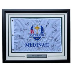 2012 Ryder Cup 22x27 Custom Framed Flag Display Signed by (13) with Tiger Woods, Phil Mickelson, Jim