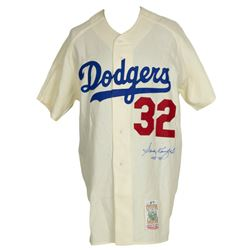 "Sandy Koufax Signed Dodgers Mitchell  Ness Jersey Inscribed ""HOF 72"" (PSA LOA)"