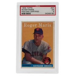 Roger Maris Signed 1958 Topps #47 RC (PSA 5)
