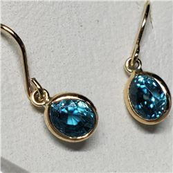 10K Yellow Gold Natural Blue Zircon(2.2ct) Earrings, Made in Canada (Estimated Selling Price from $9