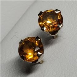 14K Yellow Gold Citrine(0.6ct) Earrings, Made in Canada