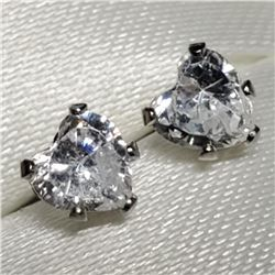 14K White Gold Cubic Zirconia 10Kt Back Earrings (4mmmm), Made in Canada