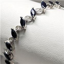 Silver Black Sapphire(6.8ct) Marquise Cut Earrings (~length 7cm) (~weight 8.95g) (Estimated Selling
