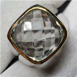 Brass Green Amethyst(5.8ct) Mens Rings Ring (~Size 7.5)