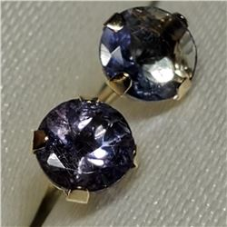 10K Yellow Gold Tanzanite(0.66ct) Fw Pearl 2 In 1 Earrings, Made in Canada