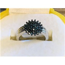 Ladies .925 Silver Black Diamond .50 Carat Cluster ring Appraisal $500